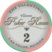 2 Dollar Poker Chip - The Valentino Poker Room (Las Vegas, Nevada) -  obverse