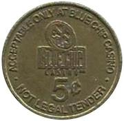 5 Cent Gaming Token - Blue Chip Casino (Michigan City, Indiana) -  obverse