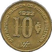 10 Cents - San Antonio Traction Co. Retires Streetcar (San Antonio, Texas) -  obverse
