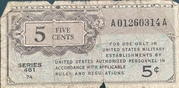 5 Cents Military Payment Certificate Series 461 (1946-1947) – obverse