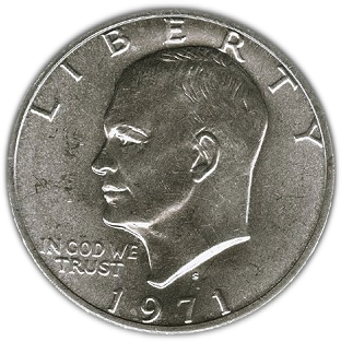 US One Dollar Eisenhower 1977-D  AU  About  Uncirculated