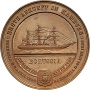 """Medal - First arrival of the ship """"Borussia"""" in Hamburg – reverse"""