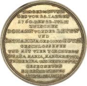 Medal - Silver wedding of Johann von der Leyen with Katharina Goyen (Krefeld) – reverse