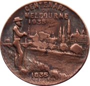Medallion - Centenary of Victoria 1934; Centenary of Melbourne, 1935  – reverse