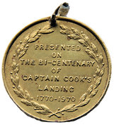 The council of the Shire of Sutherland, Captain Cook's Landing Medallion – reverse