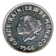 10 Francs - Rainier III (10th Wedding Anniversary; Medallic Coinage) – obverse