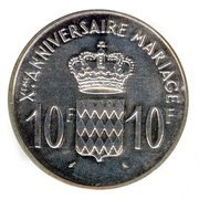 10 Francs - Rainier III (10th Wedding Anniversary; Medallic Coinage) – reverse