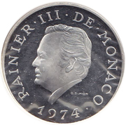 100 Francs - Rainier III (Anniversary of Reign, Medallic Coinage) – obverse