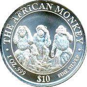 10 Dollars (The African Monkey - The Three Monkeys) – reverse