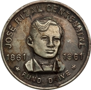 Medal - Jose Rizal Centennial Fund Drive – obverse