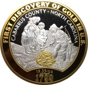 Medal - First discovery of gold in the U.S. – reverse