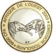 6000 Francs / 4 Africa (IDAO Coinage; Elephants) – obverse