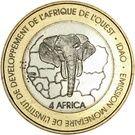 6000 Francs / 4 Africa (IDAO Coinage; Elephants) – reverse