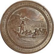 Medal - Discovery of Jurua on the Napo and Amazon river by Goncalo Pisarro and Pedro de Ursua – reverse