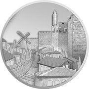 1 oz Silver (Views of Jerusalem - Mishkenot Sha'ananim) – obverse