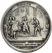 Medal - Grand Duke Yaropolk (№ 91; Grant of Land to the Pecheneg Prince Ildey for building a city in 979) – reverse