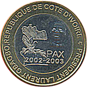 6000 Francs CFA / 4 Africa (IDAO Coinage; President Laurent Gbagbo) – obverse