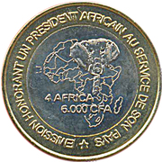 6000 Francs CFA / 4 Africa (IDAO Coinage; President Laurent Gbagbo) – reverse