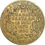 Medal - 50 years existence of the Stoomvaart Maatschappij – reverse