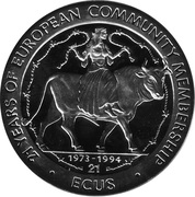 21 ECUs - Elizabeth II (Europa on a Bull) – reverse