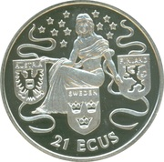 21 ECUs - Elizabeth II (Europa with shield of Austria, Sweden and Finland) – reverse