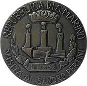Medal - Commemoration of Italian president Sandro Pertini's visit to San Marino on 20 October 1984 – obverse