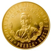 0.48 Onza (100th Anniversary of Batalla de Puebla; Medallic Gold Coinage) – reverse
