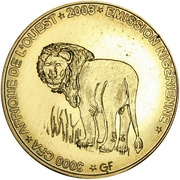 3000 Francs / 2 Africa (IDAO Coinage; Lion) – obverse