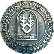 US Forest Service volunteer token – reverse