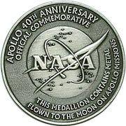 Medallion - Apollo 40th Anniversary – reverse