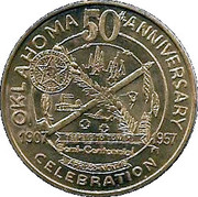 Oklahoma 50th Anniversary-Great Seal medallion – obverse