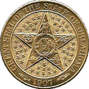Oklahoma 50th Anniversary-Great Seal medallion – reverse
