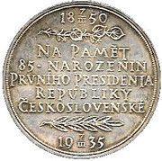 Medal - Tomas G. Masaryk (85th birthday) – reverse