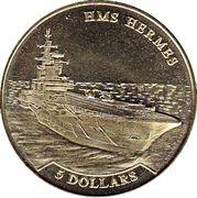 5 Dollars - Elizabeth II (HMS Hermes) – reverse