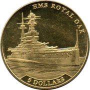 5 Dollars - Elizabeth II (HMS Royal Oak) – reverse