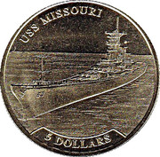 5 Dollars - Elizabeth II (USS Missouri) – reverse