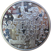25 ECU - Beatrix (85th Birthday of Queen Mother) -  obverse
