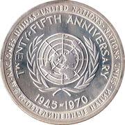 Medal - United Nations 25th Anniversary -  obverse