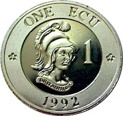1 ECU (Bust of Britannia) – reverse