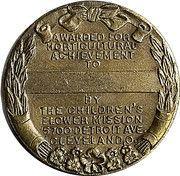 Medal - Floyd Bradley Horticulture Achievement Medal – reverse