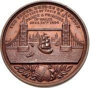 Medal - Opening of the London Bridge (Prince Albert Edward and Princess Alexandra of Denmark) – reverse