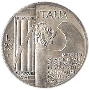 20 Lire (Mussolini Fantasy Medal) – obverse