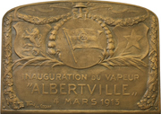 Plaquette - Maiden Voyage of the steamship Albertville – obverse