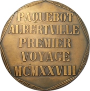 Medal - Maiden voyage of the Albertville – reverse