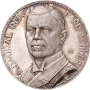 Medal - Admiral Reinhard Scheer and his naval sucesses at the battle of Skagerrak – obverse