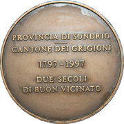 Italy and Switzerland Borderlands Friendship Medallion – reverse