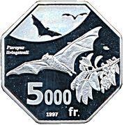 5000 Francs (Livingstone's fruit bat) – reverse