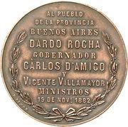 "Medal - Founding of ""La Plata"" – reverse"
