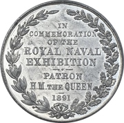 Medal - Royal naval exhibition – reverse