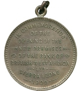 Medal - Opening of the new premises of the Bank of British West Africa Ltd. – reverse